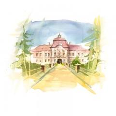 Postcard Csillag István - Teleki Castle from Gornești