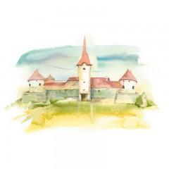 Postcard Csillag István - Sükösd-Bethlen Castle from Racoș